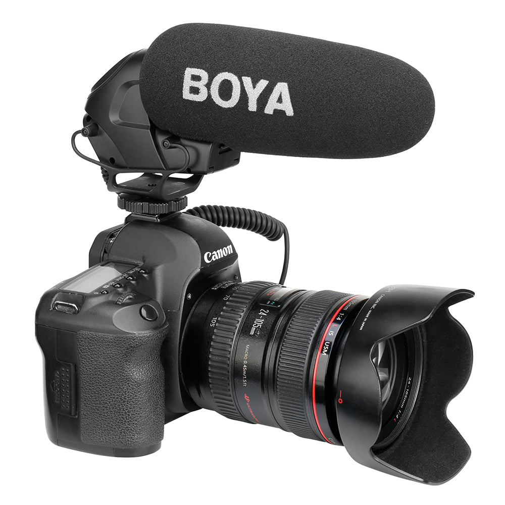 BOYA BY-BM3030 On-Camera Shotgun Microphone 3.5mm Super-Cardioid Video Mic for Canon Nikon Sony SLR Cameras Video Audio Recorder