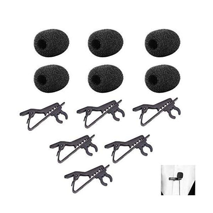 6 packs Foam Windscreen & Lapel Clips, BOYA Microphone Replacement Kit for Lapel Lavalier Microphone, Lav Microphone Accessories