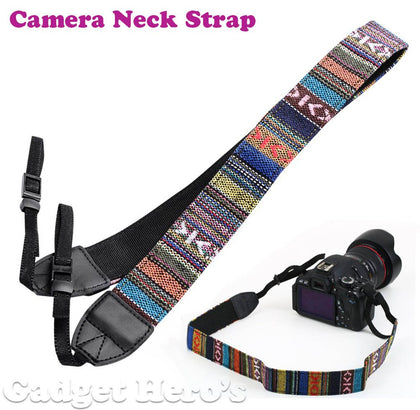 Caden Retro Color Pattern Neck Shoulder Soft Strap For SLR DSLR Camera