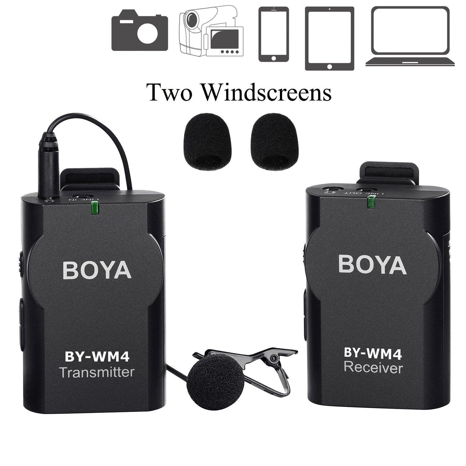 BOYA BY-WM4 High Performance Wireless Microphone System for Smartphone, Tablet, DSLR, Audio Recorder and PC
