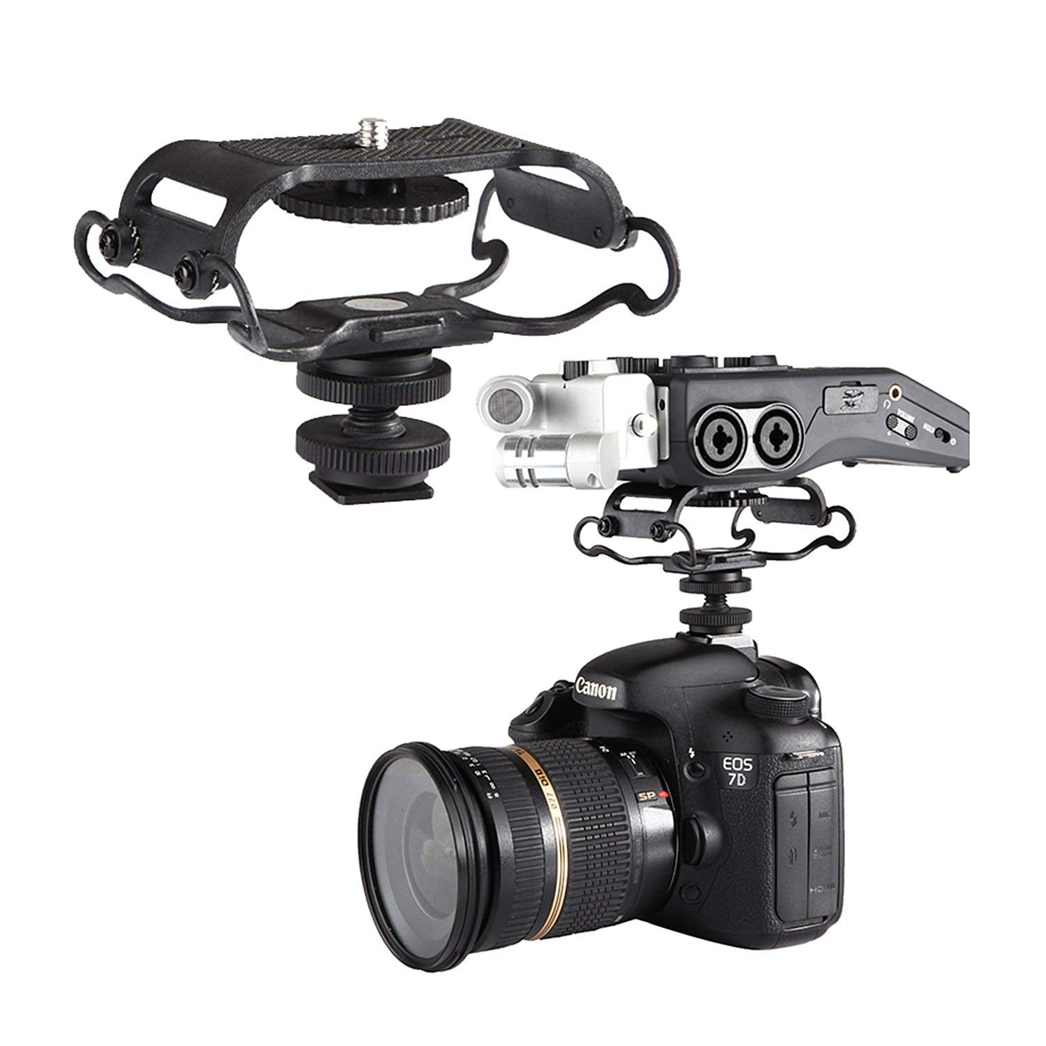 BOYA BY-C10 Universal Microphone and Portable Recorder Shock Mount - Fits the Zoom H4n H5 H6 Tascam DR-40 DR-05 DR-07 with 1/4 Mounting Screw