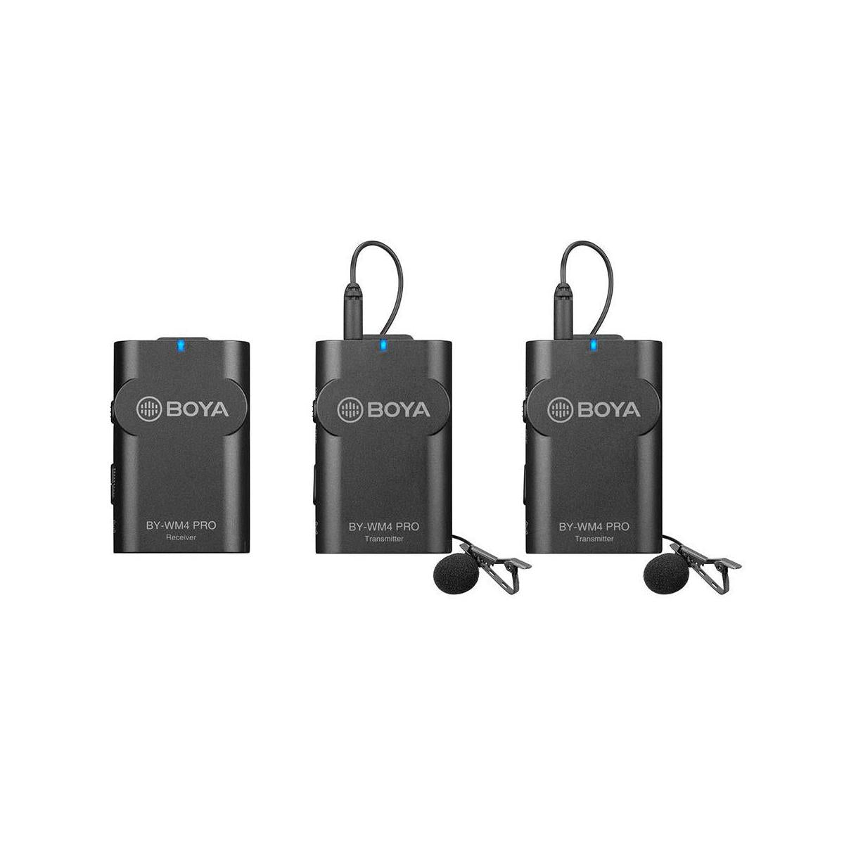 BOYA BY-WM4 PRO K2 Dual-Channel Digital Wireless Microphone System for DSLRs and Smartphones, Includes 2x Transmitter, 1x Receiver & Lavalier Mic