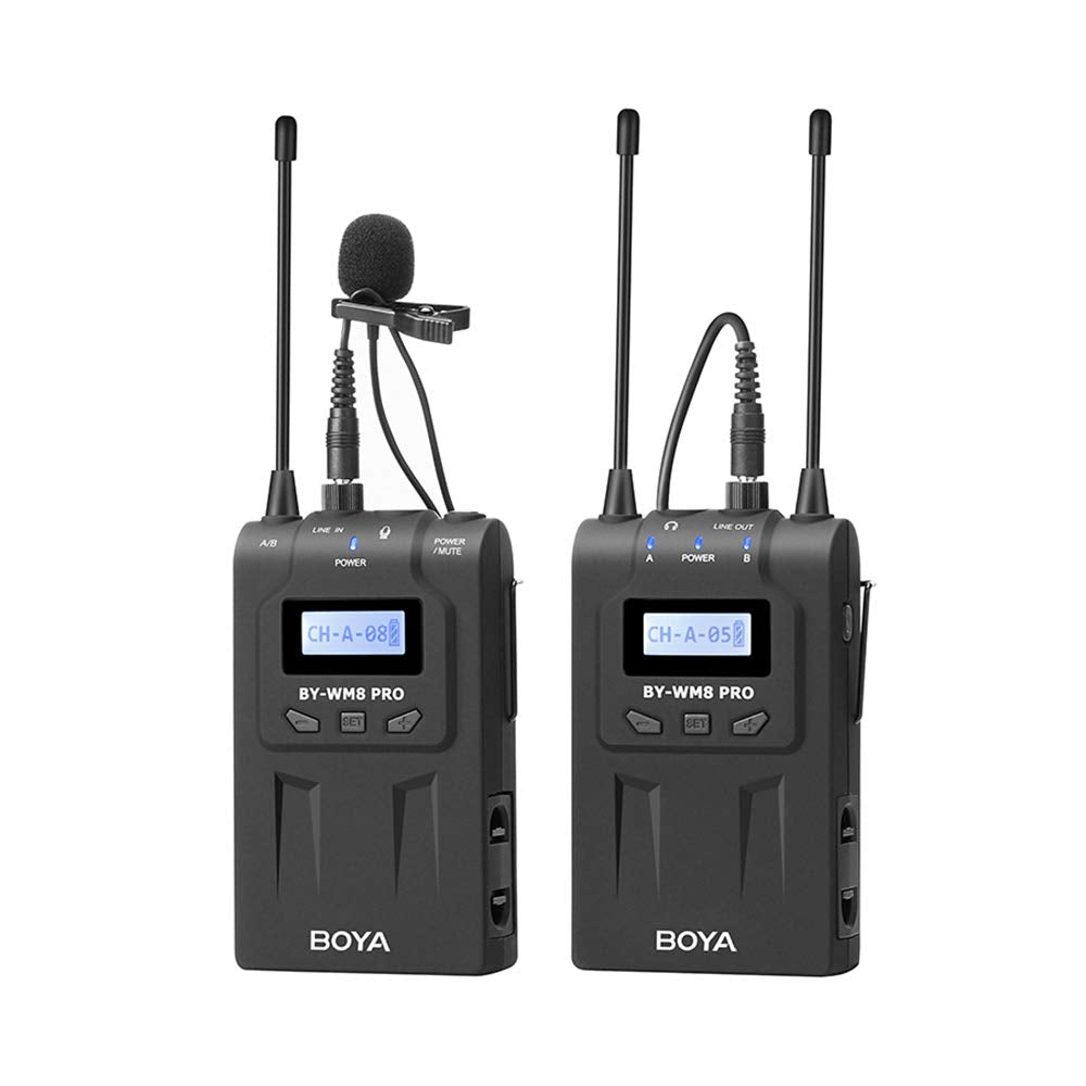 BOYA BY-WM8 Pro-K1 UHF Wireless Microphone System 48 Channels Mono/Stereo Mode LCD Display 100M Effective Range for Canon Nikon Sony DSLR Cameras Camcorders with Andoer Cleaning Cloth
