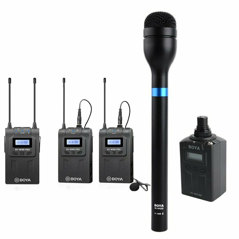 BOYA BY-WM8 Pro-K2+BY-WXLR8+BY-HM100 Kit Wireless Microphone for ENG & Interview