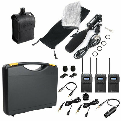 BOYA BY-WM8 Pro-K2+BY-WXLR8+BY-PVM1000 Wireless Microphone for ENG & Interviews