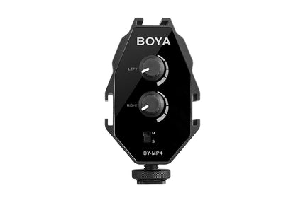 BOYA MP4 Microphone Audio Mixer & Compact Dual-Mic Mounting Hub for Smartphones & DSLR Cameras & Camcorders (MP4)