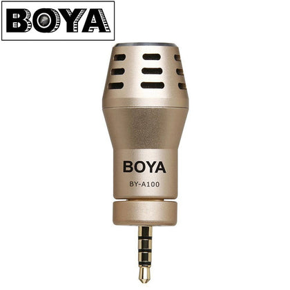 BOYA BY-A100 Omni Directional Condense Phone Microphone Live Broadcast Recording Microphones Camera Shooting Interview for iPhone iPad iPod Touch Android Smartphones Gold