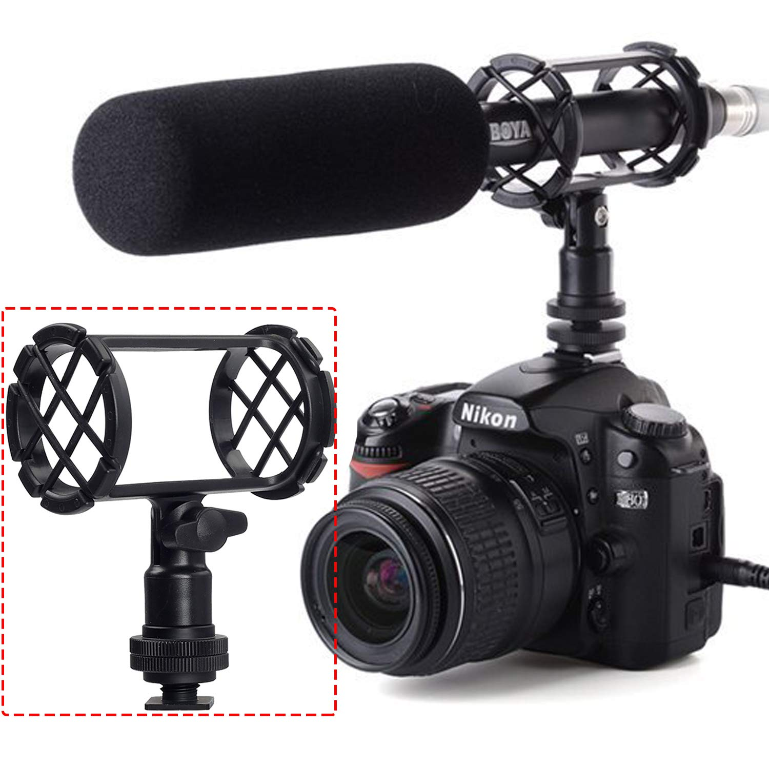 Boya BY-C04 Camera Microphone Shockmount with Hot Shoe Mount for AKG D230 Senheisser ME66 Rode NTG-2 NTG-1 Audio-Technica AT-875R