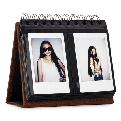 CAIUL 68 Pockets Desk Calendar Style Photo Album for Fujifilm Instax Mini 7s 8 8+ 9 25 26 50s 70 90 Films (Brown)