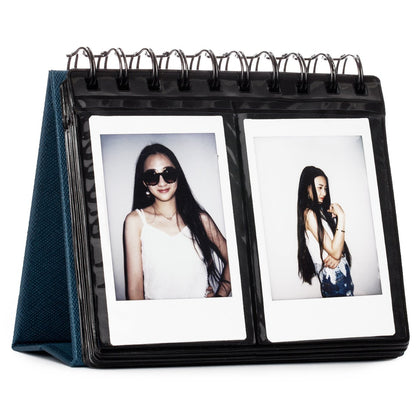 CAIUL 68 Pockets Desk Calendar Style Photo Album for Fujifilm Instax Mini 11,8, 9 25 26 50s 70 90 Films (Navy Blue)