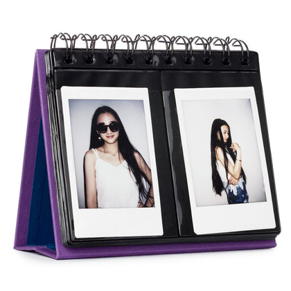 CAIUL 68 Pockets Desk Calendar Style Photo Album for Fujifilm Instax Mini 7s 8 8+ 9 25 26 50s 70 90 Films (Purple)