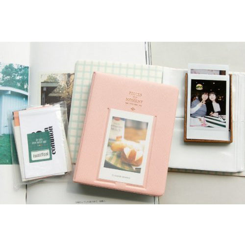 [Fuji Instax Mini Photo Album]  CAIUL Pieces Of Moment Book Album For Films Of Instax Mini 7s 70 8 25 50s 90/ Pringo 231/ Fujifilm Instax SP1/ Polaroid PIC300P/ Polaroid Z2300 (64 Photos Pink)