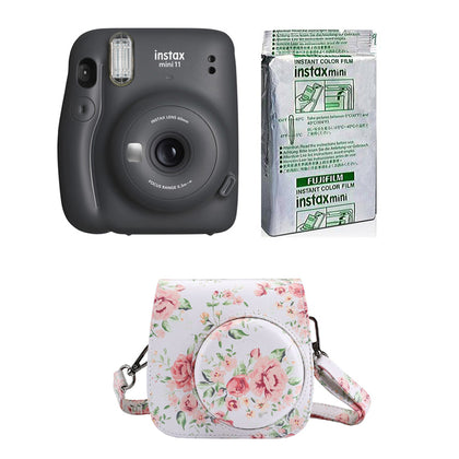 FUJIFILM INSTAX Mini 11 Instant Film Camera with 10X1 Pack of Instant Film With Floral Pouch (Charcoal Gray)