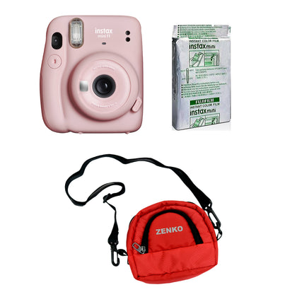 FUJIFILM INSTAX Mini 11 Instant Film Camera with 10X1 Pack of Instant Film With Red Pouch Kit (Blush Pink, 10 Exposures)