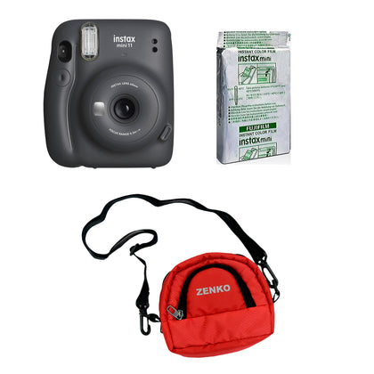 FUJIFILM INSTAX Mini 11 Instant Film Camera with 10X1 Pack of Instant Film With Red  Pouch Kit (Charcoal Gray, 10 Exposures)