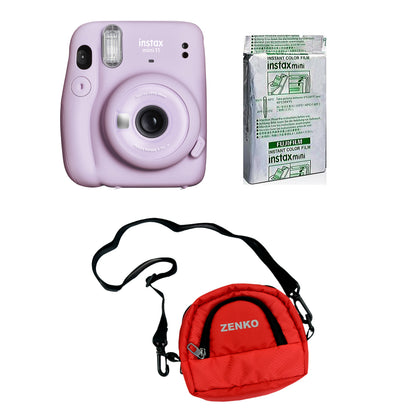 FUJIFILM INSTAX Mini 11 Instant Film Camera with 10X1 Pack of Instant Film With Red Pouch Kit (Lilac Purple, 10 Exposures)
