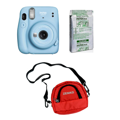 FUJIFILM INSTAX Mini 11 Instant Film Camera with 10X1 Pack of Instant Film With Red Pouch Kit (Sky Blue, 10 Exposures)