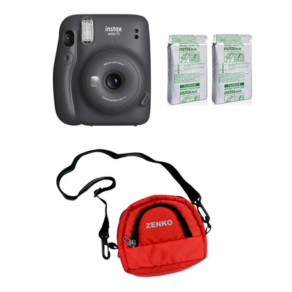 FUJIFILM INSTAX Mini 11 Instant Film Camera with Twin Pack of Instant Film With Red Pouch Kit (Charcoal Gray, 20 Exposures)