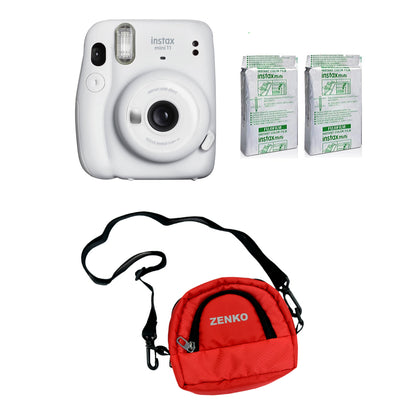 FUJIFILM INSTAX Mini 11 Instant Film Camera with Twin Pack of Instant Film With Red Pouch Kit (Ice White, 20 Exposures)