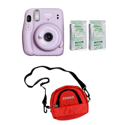 FUJIFILM INSTAX Mini 11 Instant Film Camera with Twin Pack of Instant Film With Red Pouch Kit (Lilac Purple, 20 Exposures)
