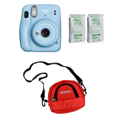 FUJIFILM INSTAX Mini 11 Instant Film Camera with Twin Pack of Instant Film With Red Pouch Kit (Sky Blue, 20 Exposures)