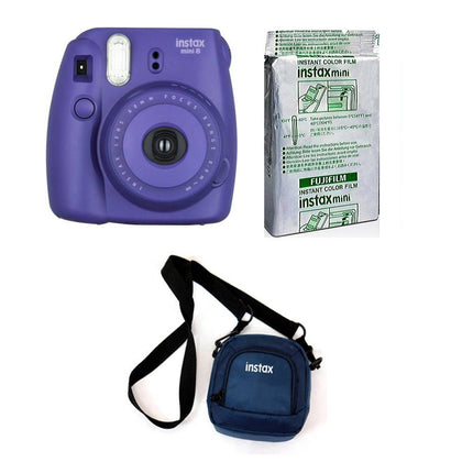 FUJIFILM INSTAX Mini 8 Grape Instant Film Camera with 10X1 Pack of Instant Film With Pouch Kit (Purple, 10 Exposures)