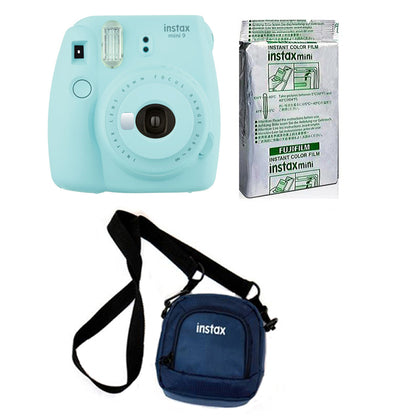 FUJIFILM INSTAX Mini 9 Instant Film Camera kit with 10X1 Pack of Instant Film and Pouch (Blue)