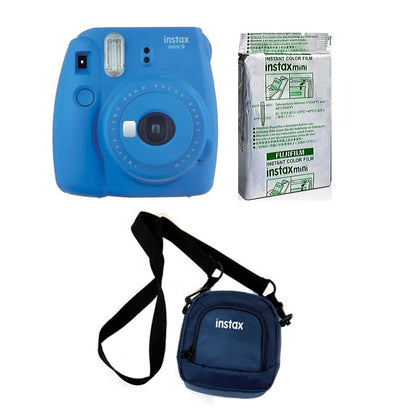 FUJIFILM INSTAX Mini 9 Instant Film Camera kit with 10X1 Pack of Instant Film and Pouch (Cobalt Blue)