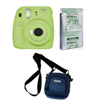 FUJIFILM INSTAX Mini 9 Instant Film Camera kit with 10X1 Pack of Instant Film and Pouch (Lime Green)