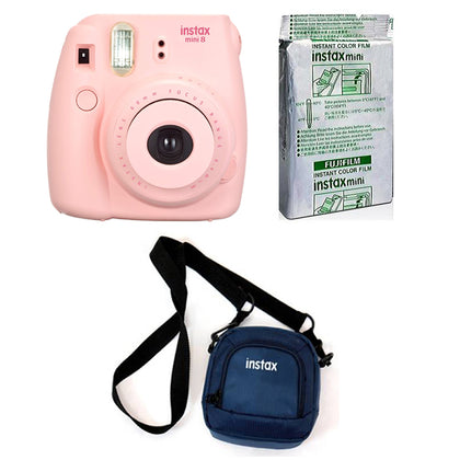 FUJIFILM INSTAX Mini 9 Instant Film Camera kit with 10X1 Pack of Instant Film and Pouch (Pink)