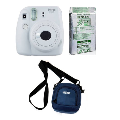 FUJIFILM INSTAX Mini 9 Instant Film Camera kit with 10X1 Pack of Instant Film and Pouch  (White)