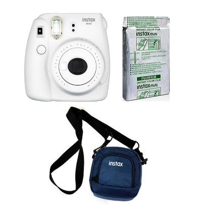 FUJIFILM INSTAX Mini 9 Instant Film Camera kit with 10x1 Pack of Instant Film and Pouch (Smoky White)