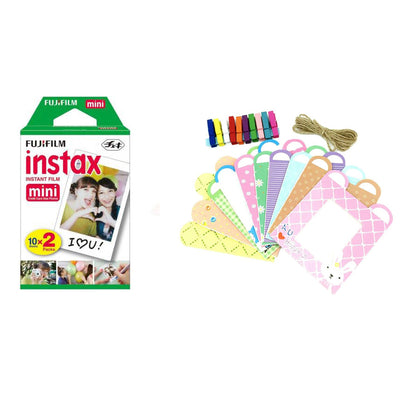 FUJIFILM Instax Mini 20 Shots Instant Film Roll With Rabbit Design Hanging Paper Photo Frame - 20 Exposures