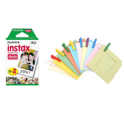 FUJIFILM Instax Mini 20 Shots Instant Film Roll With simple Hanging Paper Photo Frame -20 Exposures