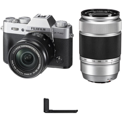 FUJIFILM X-T20 Mirrorless Digital Camera with 16-50mm and 50-230mm Lenses and Grip Kit (Silver)