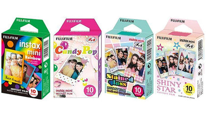 Fujifilm Instax Mini Instant Film Rainbow & Staind Glass & Candy Pop & SHINY STAR Film 10x4 Sheets