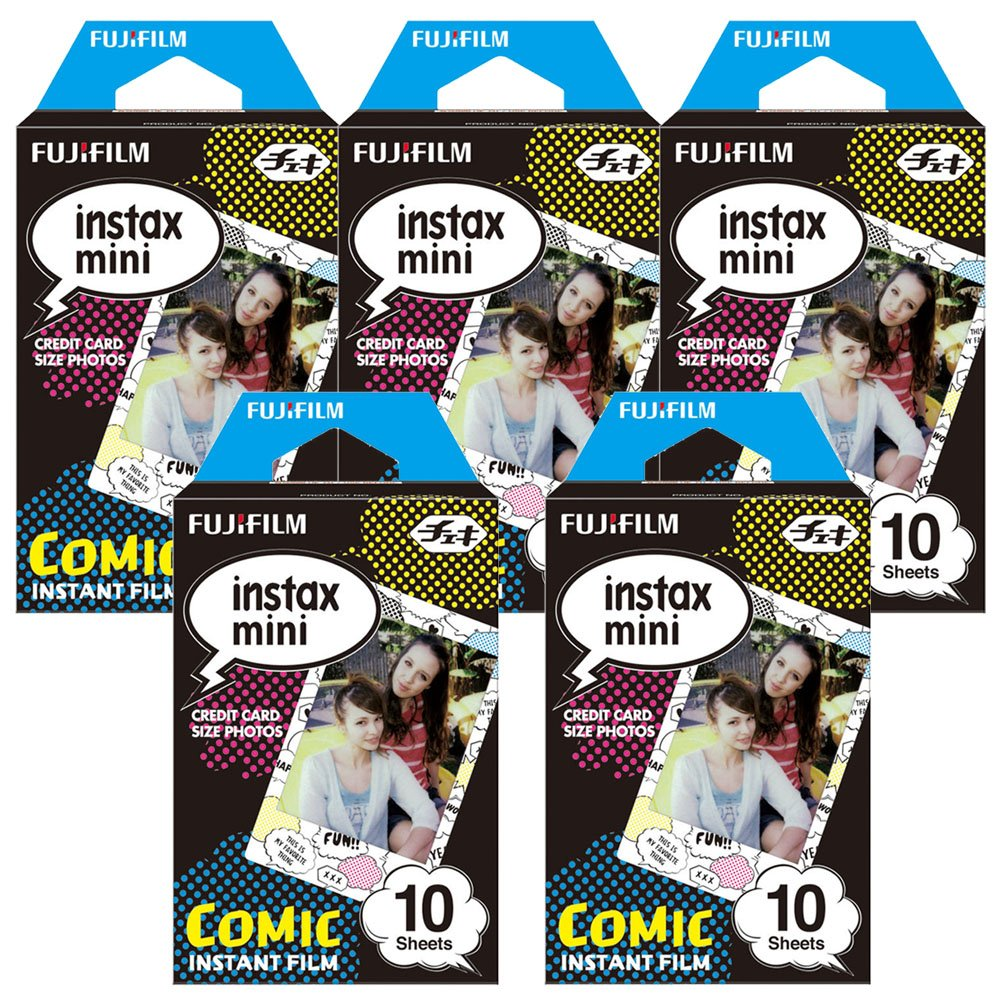 Fujifilm Instax Comic Instant Film 5 Pack For Film for Fuji 7s, 8, 9, 25, 50s,70, 90 Instant Camera, Share SP1, SP2 Printer ( 50 Shots)