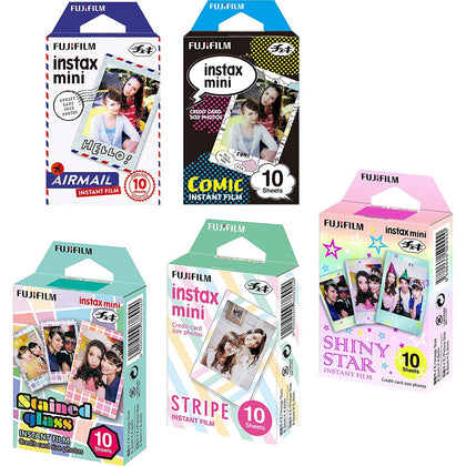 Fujifilm Instax Mini 5 Pack Bundle Includes Stained Glass, Comic, Stripe, Shiny Star, Airmail (50 Sheets)