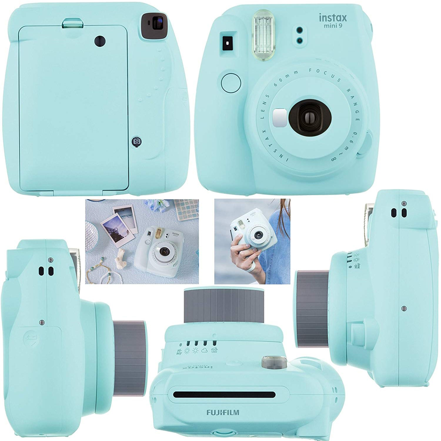 """Fujifilm Instax Mini 9 Instant Camera (Ice Blue) + Accessory Kit, Includes: INSTAX Mini Instant Film (20 pack) + 120 Assorted Sticker, Plastic & Paper Frames + Photo Album + 4 AA Batteries + MORE """