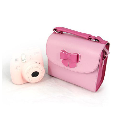 [Fujifilm Instax Mini Camera Case]  CAIUL Soft PU Leather Butterfly Series Carry Camera Case For Fujifilm Instax Mini 7s 8 25 50s 90 Camera, Polaroid, Compact Camera and Smartphone Printer Pink