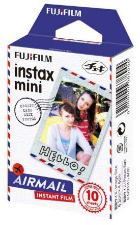 Fujifilm Instax Mini Film Airmail 10 Pack, White 20 Pack with 20 Decorative Skin Stickon Stickers Variety Design Kit (30 Shots)