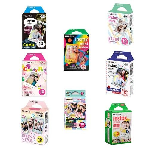 Fujifilm Instax Mini Film Bundle Consists of Daylight Film 20 Pack, Rainbow 10 Pack, Shiny Star 10 Pack, Candy Pop 10 Pack, Airmail 10 Pack, Comic 10 Pack, Stained Glass 10 Pack, Stripe 10 Pack