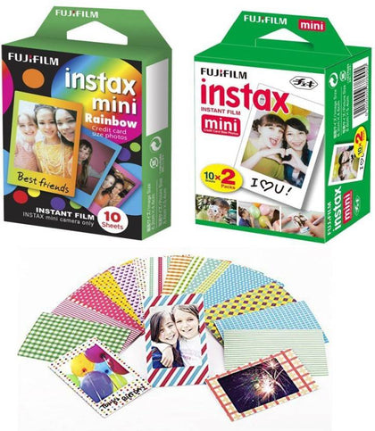 Fujifilm Instax Mini Film Rainbow 10, White 10x2 with 20 Decorative Stickers