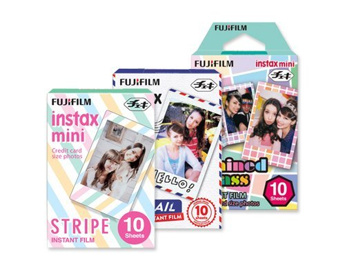 Fujifilm Instax Mini Film Stripe/Airmail/Stained Glass, 10x3(total 30 Sheets)
