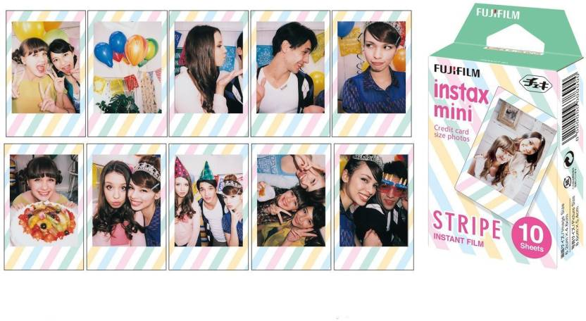 Fujifilm Instax Mini Films Airmal, Stripe, Rainbow, Candy Pop Film 10 Sheets X 4