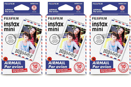 Fujifilm Instax Mini Instant Film 30 Count Value Kit For Fuji 7s, 8, 9, 25, 50s,70, 90 Instant Camera, Share SP1, SP2 Printer (3 Pack, Airmail)