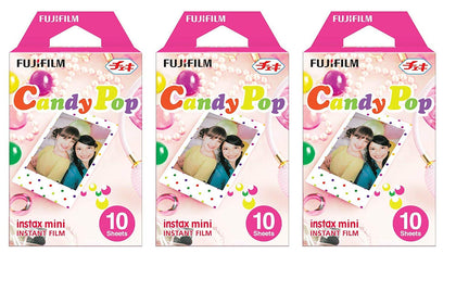 Fujifilm Instax Mini Instant Film 10X3 Candy Pop Film Count Value Kit For Fuji 7s, 8, 9, 25, 50s, 90, 300, Instant Camera, Share SP1 Printer
