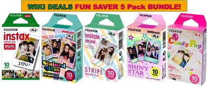 Fujifilm Instax Mini Instant Film 5 Pack BUNDLE, Candy Pop, Stained Glass, Stripe, Shiny Star, Single pack : 10 sheets X 5 Pack