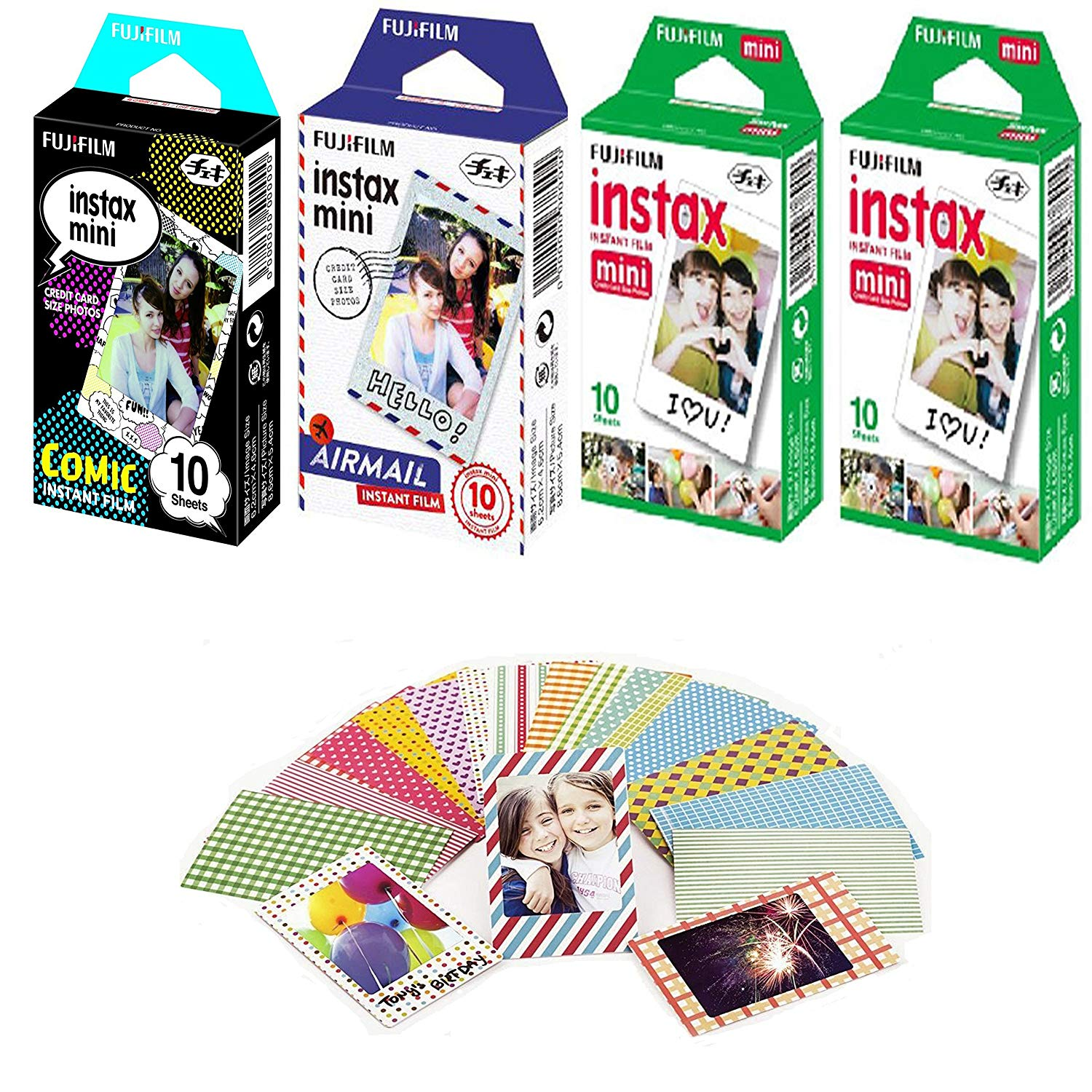 Fujifilm Instax Mini Instant Film Comic 10x1 + Airmail 10x1+ White 10x2 with 20 Decorative Skin Stickers