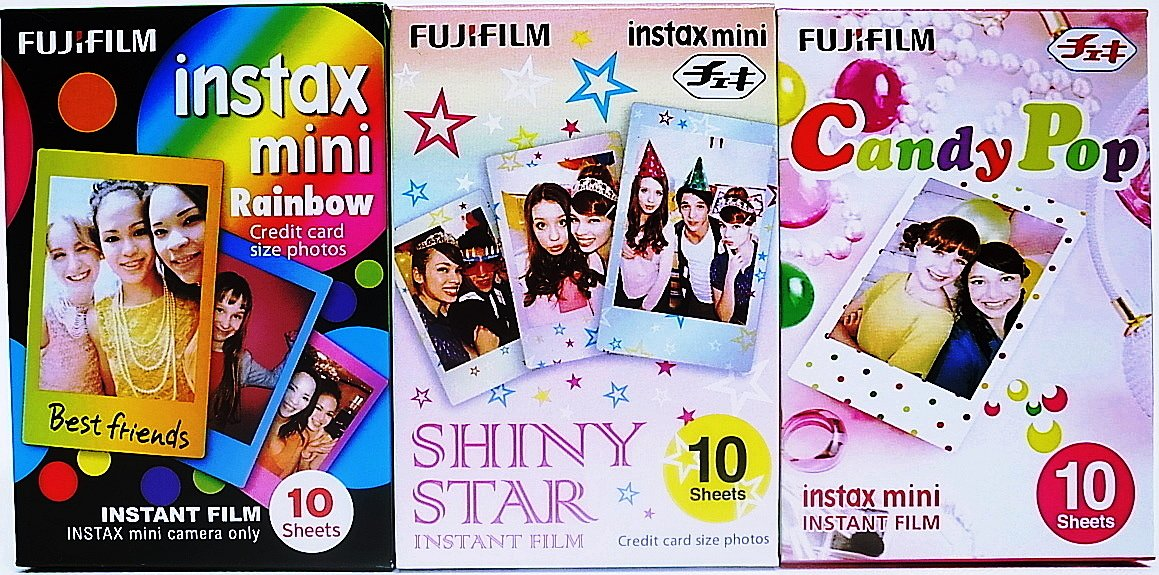 Fujifilm Instax Mini Instant Film Rainbow,Shiny Star,Candy Pop Film 10X3 Sheets